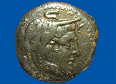 Bronze coin from Ptolemaic Egypt (obverse)